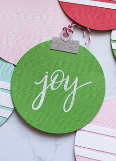 Shaped Christmas Card Set featuring the Circle Spin & Trim by Kimberly Crawford for We R Memory Keepers Christmas Tag, Christmas Bulbs, Holiday Ideas, Holiday Decor, We R Memory Keepers, Spin, My Design, Craft Projects, Joy
