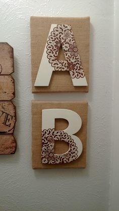 Canvas, burlap, and cardboard letters from Hobby Lobby - painted the lace pattern on with a Martha Stewart screen print from Micheals! Cardboard Letters, Diy Letters, Letter A Crafts, Wood Letters, Light Letters, Diy Cardboard, Letter Art, Burlap Projects, Burlap Crafts