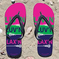 Livn Luvn Laxn Girls Flip Flops - Kick back after a lacrosse game with these great flip flops! Fun and functional flip flops for all lacrosse players and fans.