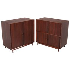 Pair of Teak Tambour Door Cabinets by Peter Hvidt for Glenn of California | 1stdibs.com