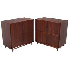 Pair of Teak Tambour Door Cabinets by Peter Hvidt for Glenn of California | 1stdibs.com