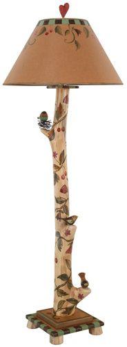 Log Floor Lamp – Eclectic folk art lamp with vine and bird motifs Diy Floor Lamp, Best Desk Lamp, Lamp Makeover, Painting Lamps, Large Lamps, Fluorescent Lamp, Rustic Lamps, Rustic Decor, Metal Chairs