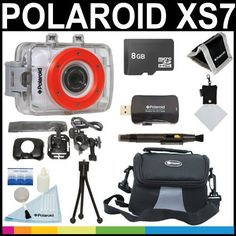 Polaroid XS7 HD 720p 5MP Waterproof Sports Action Camera with LCD Touch Screen with Helmet  Bike Mounts + 8GB Card + Deluxe Case + Polaroid Accessory Kit