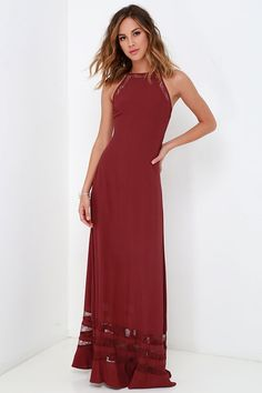 99cba54aafd8 The Spellbound and Determined Wine Red Lace Maxi Dress is delightfully  enchanting! A relaxed