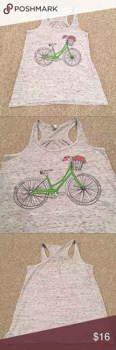"""Bicycle Racerback Tank Super cute heather gray racer back with beach cruiser bicycle graphic. Light weight material. 16"""" pit to pit and 24"""" shoulder to hem Tops Tank Tops"""