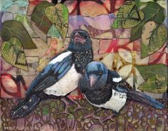 Magpies mixed media collage and paint with Citra Solv papers and doodles!  www.fromvictoryroad.com