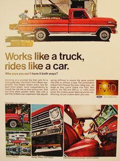 Works like a truck, rides like a car, 1968 Ford Pickup ad
