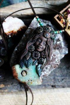Spring Goddess with Chrysoprase 'Hag Stone' by TRaewynJewelry