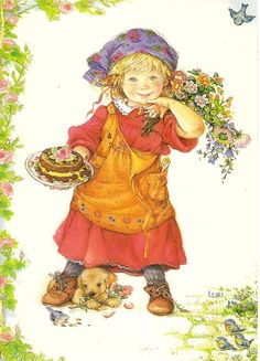https://flic.kr/p/dZdSv6   Girl and birthday cake   a postcard by Lisi Martin. Pictura Graphica AB 1987, printed in Sweden, 001.1692