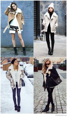 Gala Gonzalez (Amlul Fashion Blogger), Betty Autier (Le Blog de Betty), Janni Delér & MVB by Marie von Behrens in Acne Studios Velocite Oversized Shearling Biker Jacket