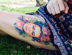 "fuckyeahtattoos: ""Frida Kahlo Watercolor Portrait by Patrick Thomas @ Tattoo Lounge in Los Angeles, CA "" Tribal Tattoos, Tattoos Geometric, Tattoos Skull, Love Tattoos, Beautiful Tattoos, Tatoos, Incredible Tattoos, Ankle Tattoos, Arrow Tattoos"