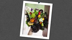 Edible Wedding Bouquet... Purple kale, mini bell peppers, ornamental peppers, broccoflower, oregano, mint, rosemary, tangerine, lemon, lime, asparagus, Swiss chard, tomatillos, and kumquats