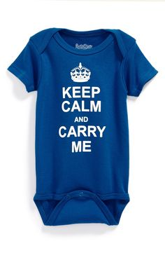 Too cute! Adore this Keep Calm and Carry Me onsie.