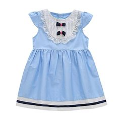 deafd8c32834 BOBORA Kids Baby Girls Sleeveless Navy Blue Bowknot Lace Sky Blue Princess  Dress: Material: Cotton/p Color: Blue/p Item Type: Dress/p ...
