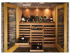 Another example >> One of my dream questions is how to build a small wine cellar into my home someday. This closet version (assuming it controls for temperature when closed) looked interesting. Although, probably still a bank breaker. Caves, Converted Closet, Bar, Wine Chillers, Wine Storage, Storage Drawers, In Vino Veritas, Glass Kitchen, Tasting Room