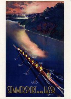 beautiful Stalin Era Travel Poster   Sommersport in der UdSSR   via Civilian Military Intelligence Group