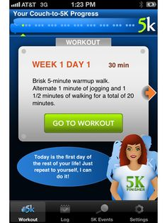 If you're a beginner runner, this app will get your started by guiding you through an 8-week regimen (3 workouts/week; 30-40 min each) to im...