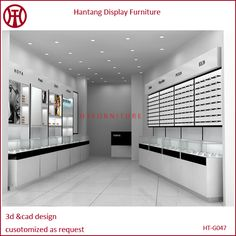 Wooden optical shop interior design for garment clothes display showcase