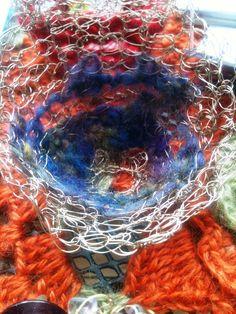 Hand crochet wire vessel with merino wool fleece