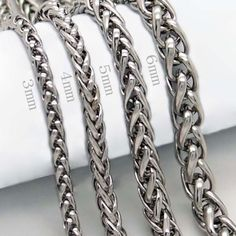 7709674f2d28 Good Unique Necklace Cool Silver Stainless Steel Braided 3 4 5 6MM 18-36