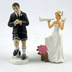 Free Shipping Playful Football Couple Figurine Wedding Funny Resin Cake Topper  Wedding Gift Favor  Accessories Decoration