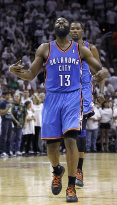 Oklahoma City Thunder guard Harden celebrates the three-pointer that put the Thunder ahead for good against the San Antonio Spurs during the closing moments of Game 5 of the NBA Western Conference bas
