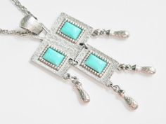 Vintage Turquoise Blue Thermoset Pendant by GrandVintageFinery