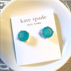 Kate Spade Gum Drop Studs NWT Light blue and slightly transparent! Absolutely stunning. I have these in another color and wear them allll the time.  Genuine Kate spade. 14K gold hardware. As always, no trades. Please be respectful. kate spade Jewelry Earrings