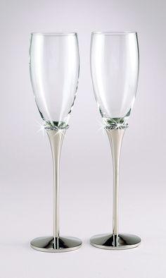 Elegant Silver Wedding Toasting Flutes with Crystals FL 21082