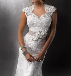 Wedding Dress,Lace Wedding Dress,Court Train Dress, Wedding Dress with Belt, White Lace Bridal Dress on Etsy, $520.00