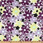 Kaufman Minky Cuddle Dots & Daisies Tiffany/Violet