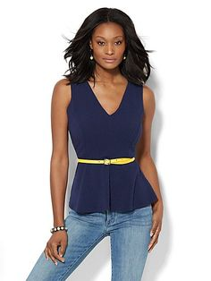 7th Avenue Design Studio - Textured Peplum Top - New York & Company  - Nice top, not sure how it would fit/ look on me