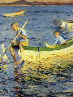 'Boating at Vinalhaven', Oil by Frank Weston Benson (1862-1951, United States)