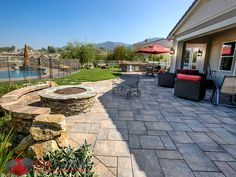 Belgard Lafitt Rustic Slab Pavers recreate the look of cut slate through the laying of three separate rectangular shapes. It's a classic look that's married to un-compromised durability. Backyard Plan, Backyard Landscaping, Belgard Pavers, Brick Patios, Landscape Plans, Patio Design, Outdoor Living, Pool Pavers, Concrete Pavers