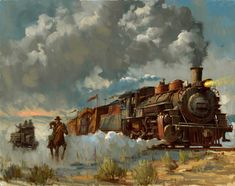 Indiana Jones Chasing the Iron Horse Limited Edition Giclee Native American Art, American History, Cowboy Pictures, Westerns, Train Art, West Art, American Frontier, Cowboy Art, Environment Concept Art