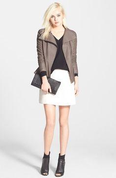 T Tahari 'Angelina' Zip Collar Leather Moto Jacket (Regular & Petite) | Nordstrom $199.90