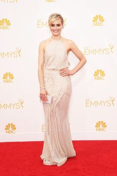 Taylor Schilling nude dress 2014 Emmy Awards - Zuhair Murad Fall 14 Couture pale platinum gown; Forevermark jewelry; Rauwolf clutch.