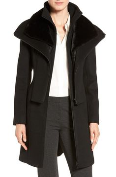 Soia & Kyo Multilayer Bib Wool Blend Coat with Faux Fur Trim available at #Nordstrom