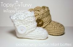 Free pattern for a crochet button wrap around infant bootie, both boy and girl versions.
