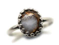 Copper Calcite Ring Artisan Silver Ring Ivory by fifthheaven