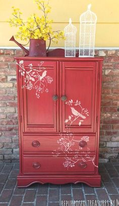 Red bird armoire red armoire children's furniture