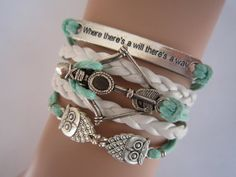 Combined Bracelet / Antiqued Silver Disney Brave Merida Bow , Night Owls Bracelet, Way Will Bracelet, Mint Green White, Friendship Gift on Etsy, $6.99