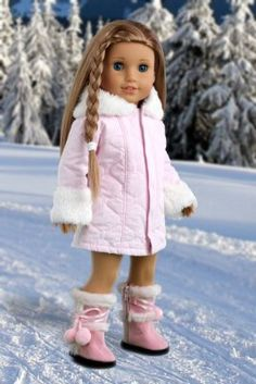 Cotton Candy - Pink parka with hood, short ivory dress and pink boots - 18 Inch American Girl Doll Clothes:Amazon:Toys & Games