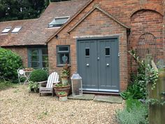 Newly painted front door, down pipe grey by Farrow and Ball.who thinks of these names? Exterior Wood Paint, Exterior Paint Colors For House, Exterior Doors, House Colors, Front Door Porch, House Front, Door Entry, Door Paint Colors, Front Door Colors