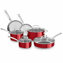 Kitchen Aid 10-pc. Stainless Steel Cookware Set Plancha Grill, Kitchen Cookware Sets, Induction Cookware, Pots And Pans Sets, Cast Iron Cookware, Michelangelo, Orange, Food Preparation, Stainless Steel