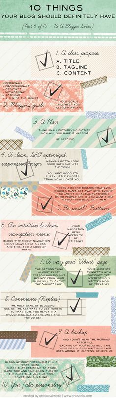 XX 10 Things your blog should definitely have! how many of these do you have checked off? XX