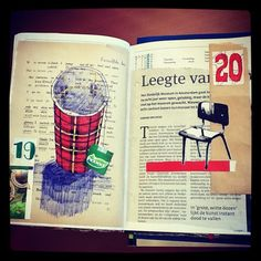 marker, bic and collage in daily planner #dailydrawing