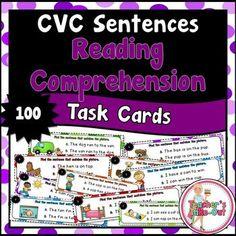 CVC Sentences for Reading Comprehension includes 100 Task Cards. (20 task cards for each vowel sound, a, e, i, o, u).