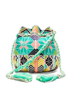 Star Mela Selma Embroidered Pouch in Ecru & Multi | REVOLVE