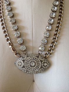 Vintage Art Deco Brooch necklace on Etsy, $118.00